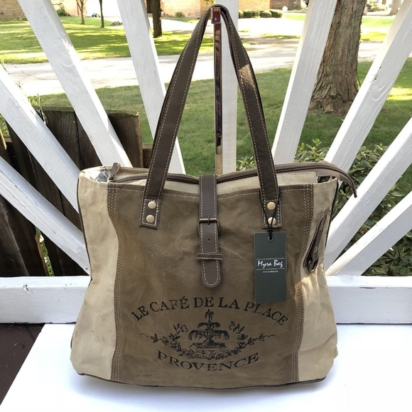 Myra Bag Bags Myra Bag Upcycled Canvas Tote Provence Purse Poshmark Every bag is truly handcrafted with spirit of vintage myra bag up cycled canvas tote provence purse